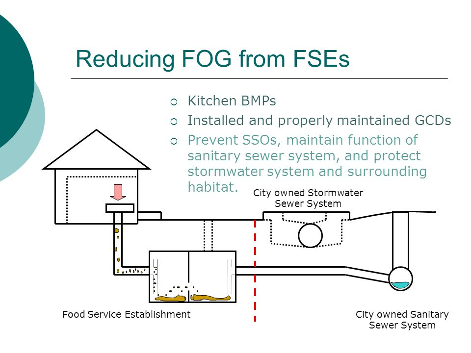 Reducing FOG from FSEs City owned Sanitary Sewer System Food Service Establishment  Kitchen BMPs  Prevent SSOs, maintain function of sanitary sewer system, and protect stormwater system and surrounding habitat.