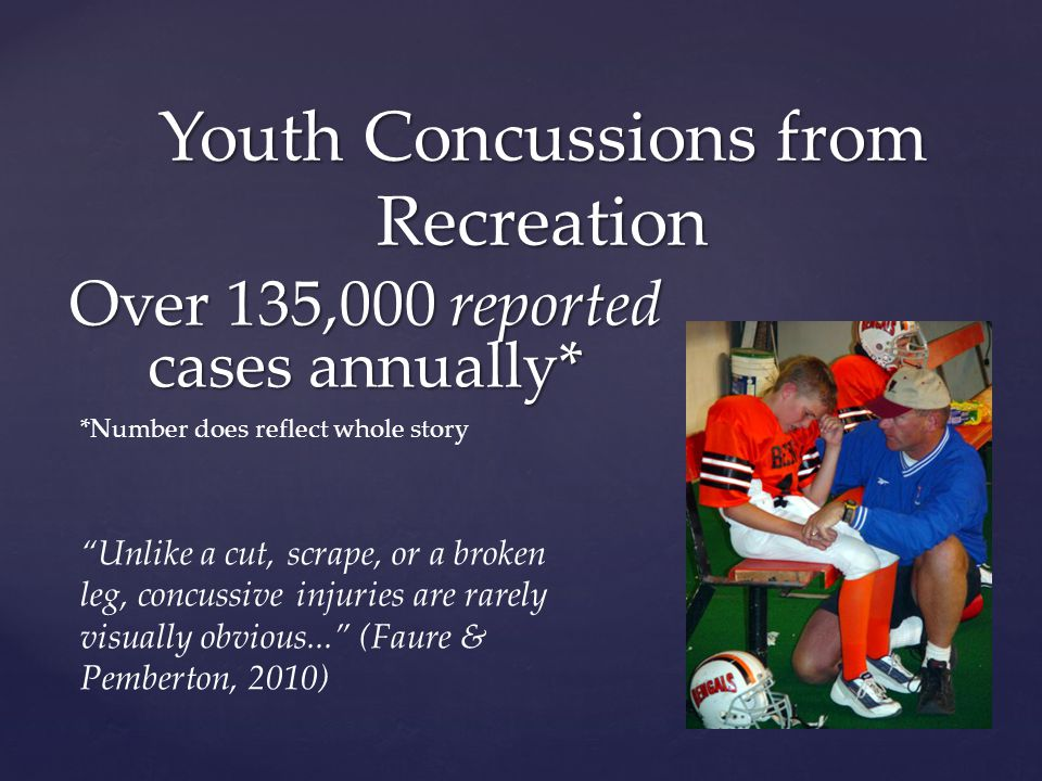 Over 135,000 reported cases annually* Youth Concussions from Recreation *Number does reflect whole story Unlike a cut, scrape, or a broken leg, concussive injuries are rarely visually obvious... (Faure & Pemberton, 2010)