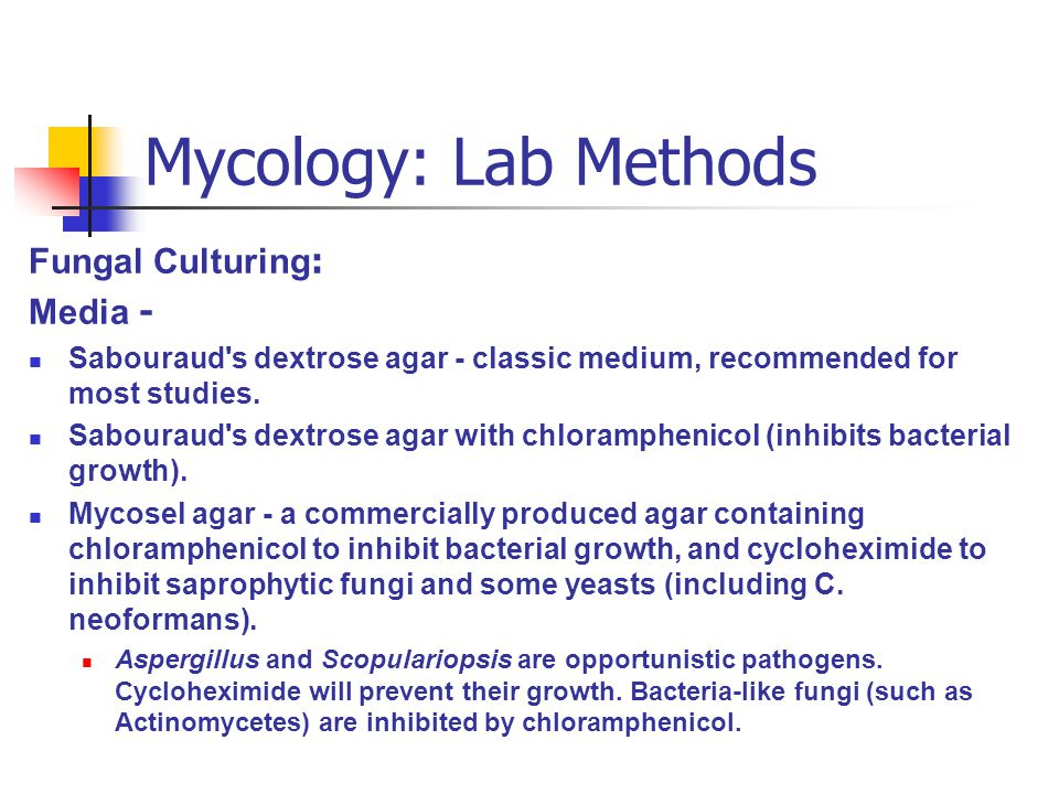 Mycology: Lab Methods Fungal Culturing : Media - Sabouraud s dextrose agar - classic medium, recommended for most studies.