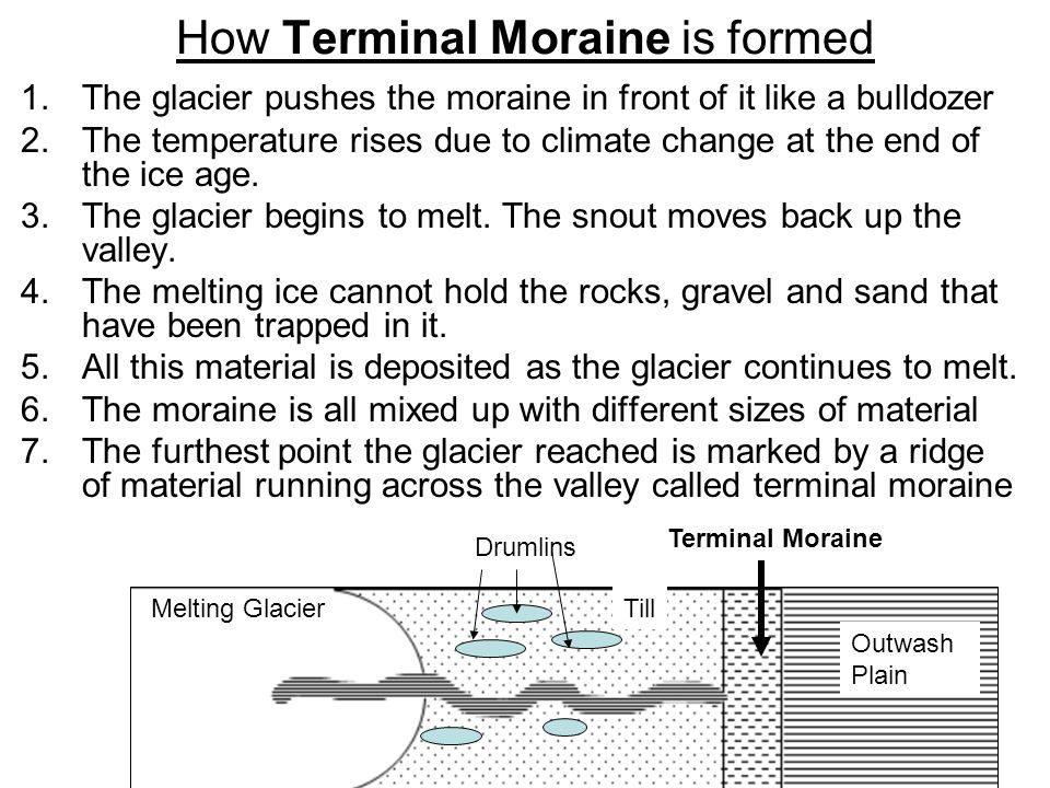 How Drumlins are formed 1.The temperature rises due to climate change at the end of the ice age. 2.The glacier begins to melt. The snout moves back up