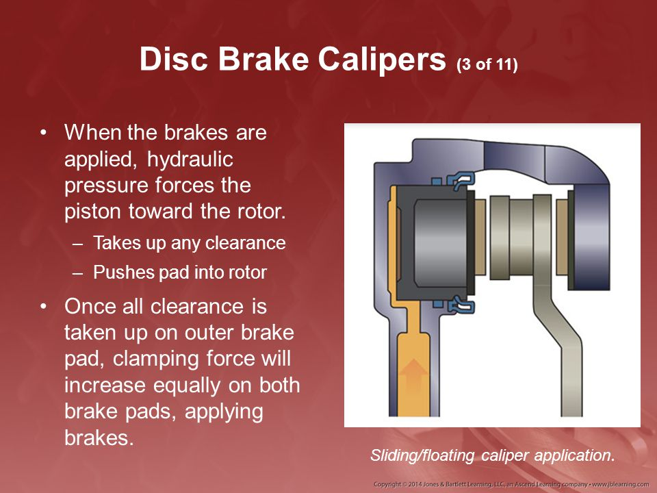 Disc Brake Calipers (3 of 11) When the brakes are applied, hydraulic pressure forces the piston toward the rotor. –Takes up any clearance –Pushes pad