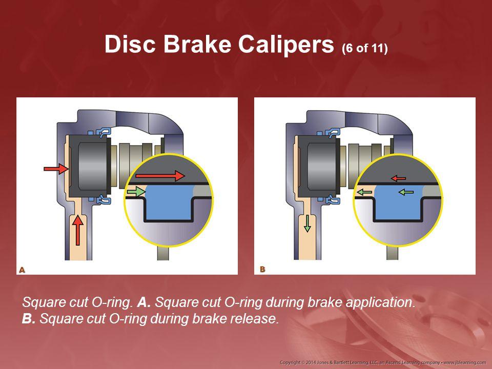 Disc Brake Calipers (6 of 11) Square cut O-ring. A. Square cut O-ring during brake application. B. Square cut O-ring during brake release.