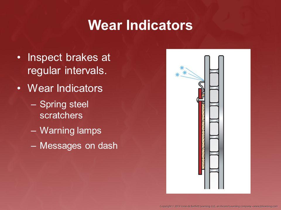 Wear Indicators Inspect brakes at regular intervals. Wear Indicators –Spring steel scratchers –Warning lamps –Messages on dash