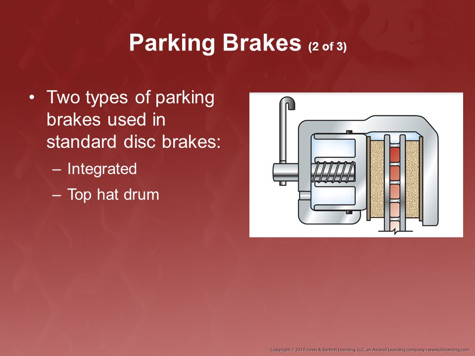 Parking Brakes (2 of 3) Two types of parking brakes used in standard disc brakes: –Integrated –Top hat drum