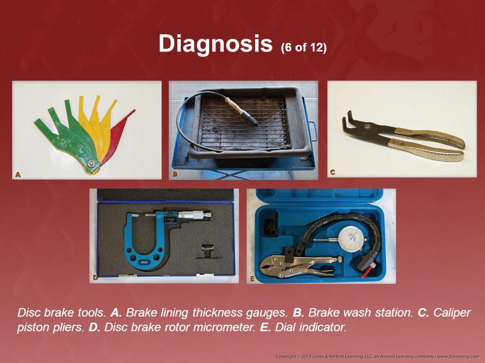 Diagnosis (6 of 12) Disc brake tools. A. Brake lining thickness gauges. B. Brake wash station. C. Caliper piston pliers. D. Disc brake rotor micromete