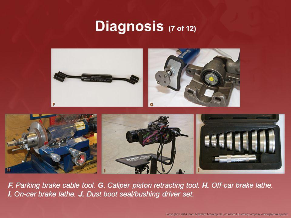 Diagnosis (7 of 12) F. Parking brake cable tool. G. Caliper piston retracting tool. H. Off-car brake lathe. I. On-car brake lathe. J. Dust boot seal/b