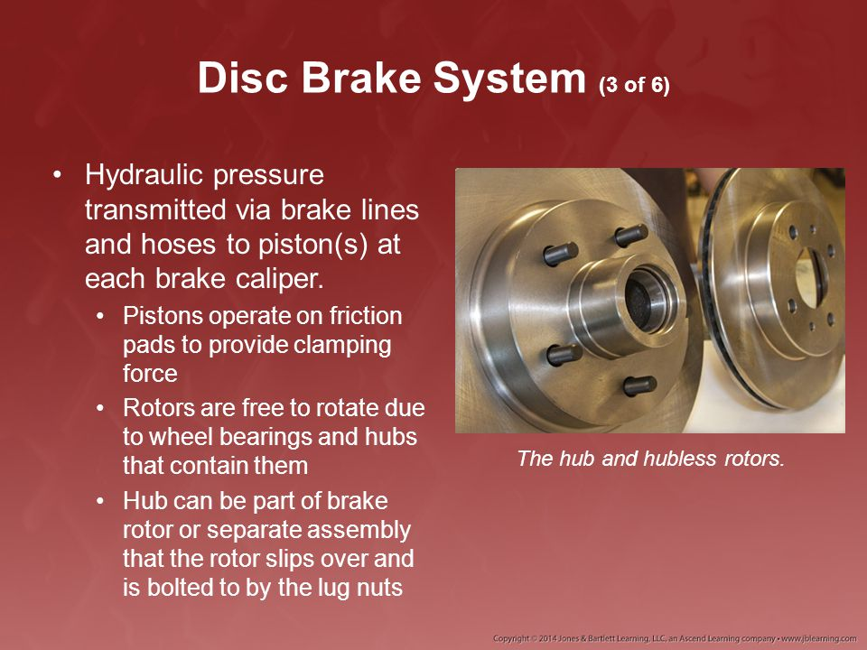 Disc Brake System (4 of 6) The brake caliper assembly is normally bolted to the vehicle axle housing or suspension Caliper mounting methods.