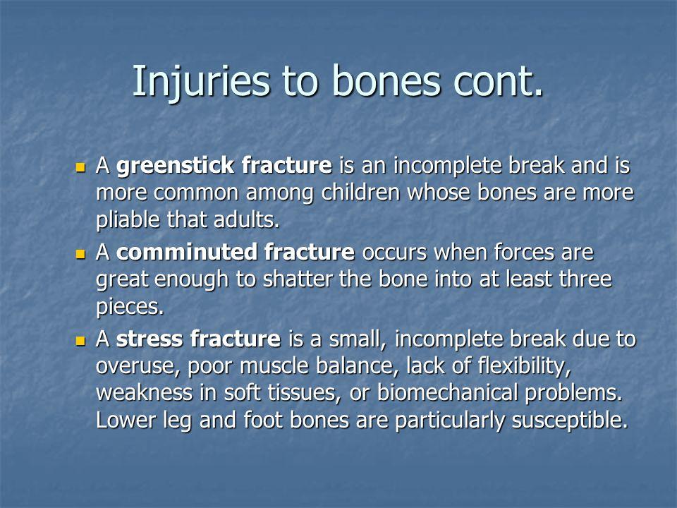 Injuries to bones cont.