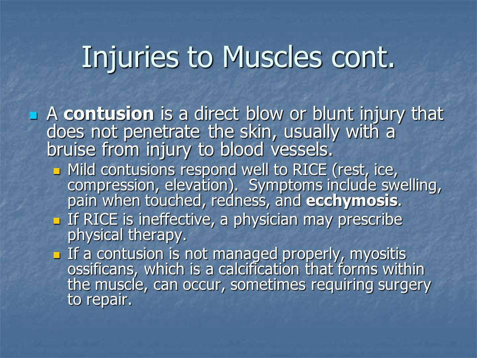 Injuries to Muscles cont.