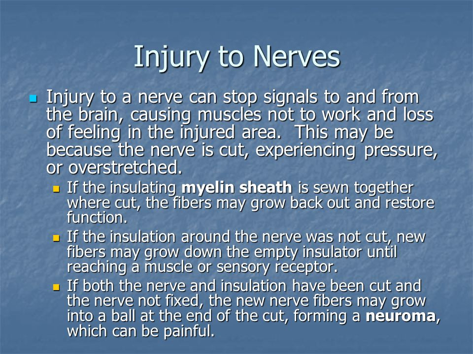 Injury to Nerves Injury to a nerve can stop signals to and from the brain, causing muscles not to work and loss of feeling in the injured area.