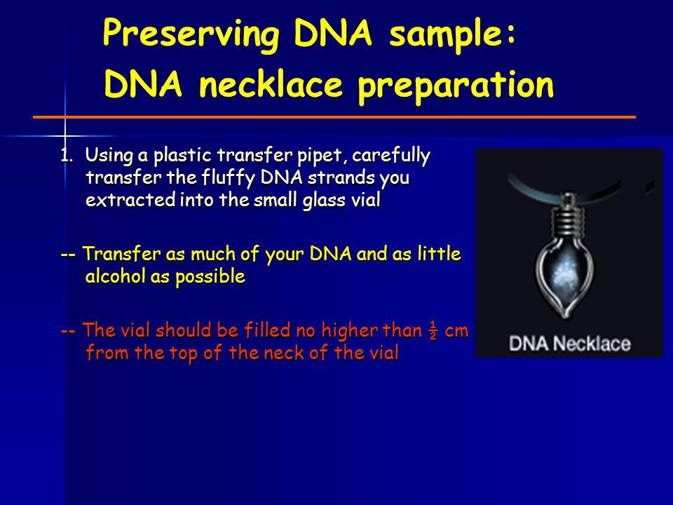 Preserving DNA sample: DNA necklace preparation 1.