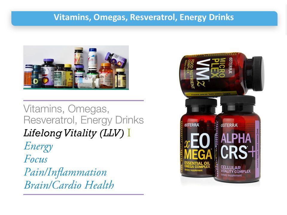 Vitamins, Omegas, Resveratrol, Energy Drinks