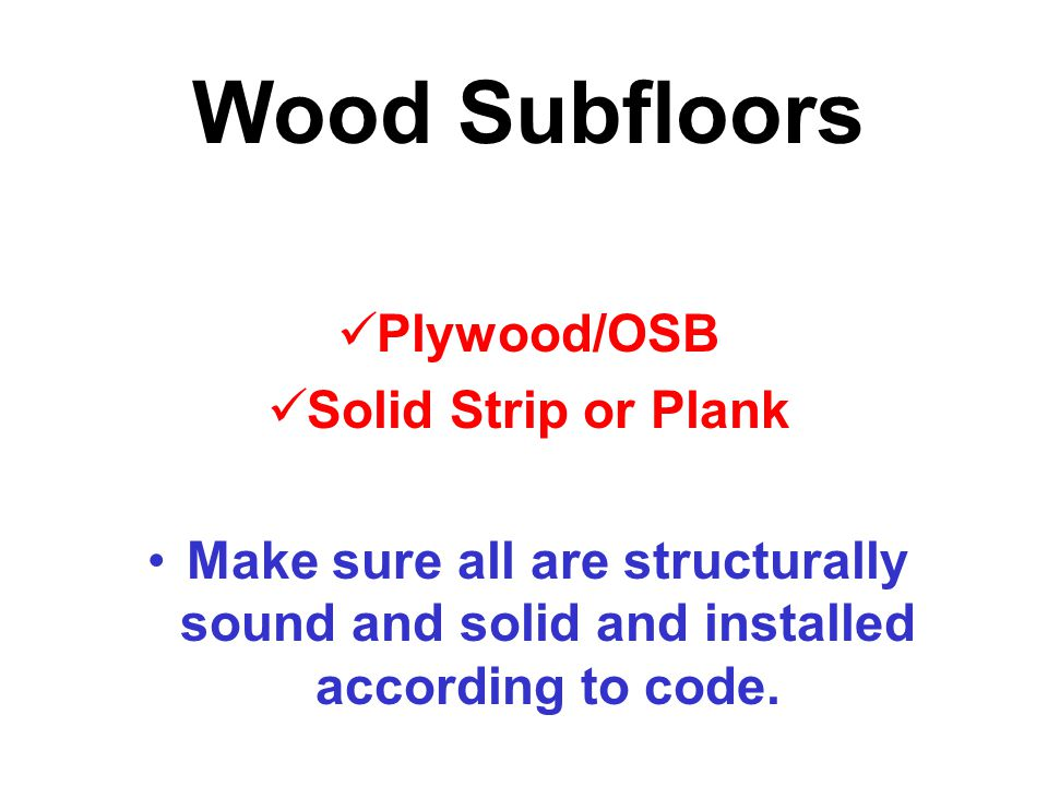 Wood Subfloors