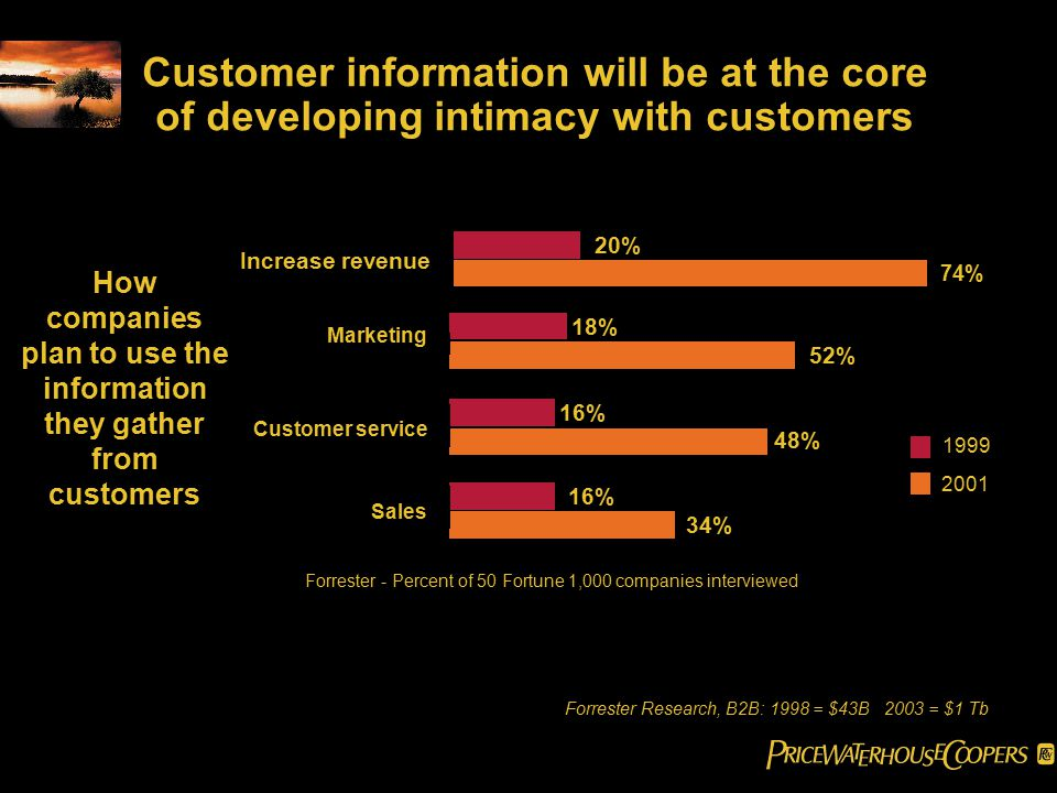 Customer information will be at the core of developing intimacy with customers Forrester - Percent of 50 Fortune 1,000 companies interviewed 18% 52% 16% 48% 16% 34% Marketing Customer service Sales 1999 2001 How companies plan to use the information they gather from customers 20% 74% Increase revenue Forrester Research, B2B: 1998 = $43B 2003 = $1 Tb