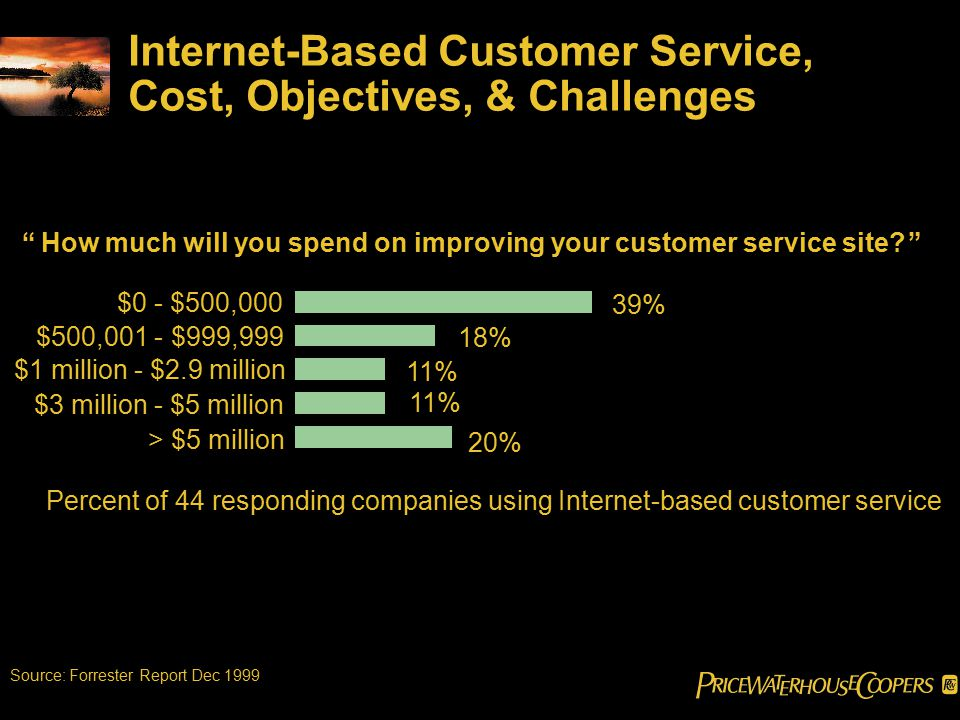 Internet-Based Customer Service, Cost, Objectives, & Challenges How much will you spend on improving your customer service site? Percent of 44 responding companies using Internet-based customer service 39% 18% 11% 20% > $5 million $3 million - $5 million $1 million - $2.9 million $500,001 - $999,999 $0 - $500,000 Source: Forrester Report Dec 1999