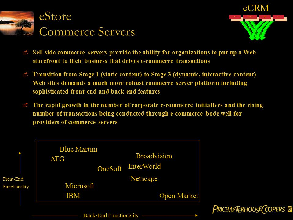  Sell-side commerce servers provide the ability for organizations to put up a Web storefront to their business that drives e-commerce transactions  Transition from Stage 1 (static content) to Stage 3 (dynamic, interactive content) Web sites demands a much more robust commerce server platform including sophisticated front-end and back-end features  The rapid growth in the number of corporate e-commerce initiatives and the rising number of transactions being conducted through e-commerce bode well for providers of commerce servers Blue Martini ATG Broadvision InterWorld OneSoft Netscape Microsoft IBMOpen Market Back-End Functionality Front-End Functionality eStore Commerce Servers