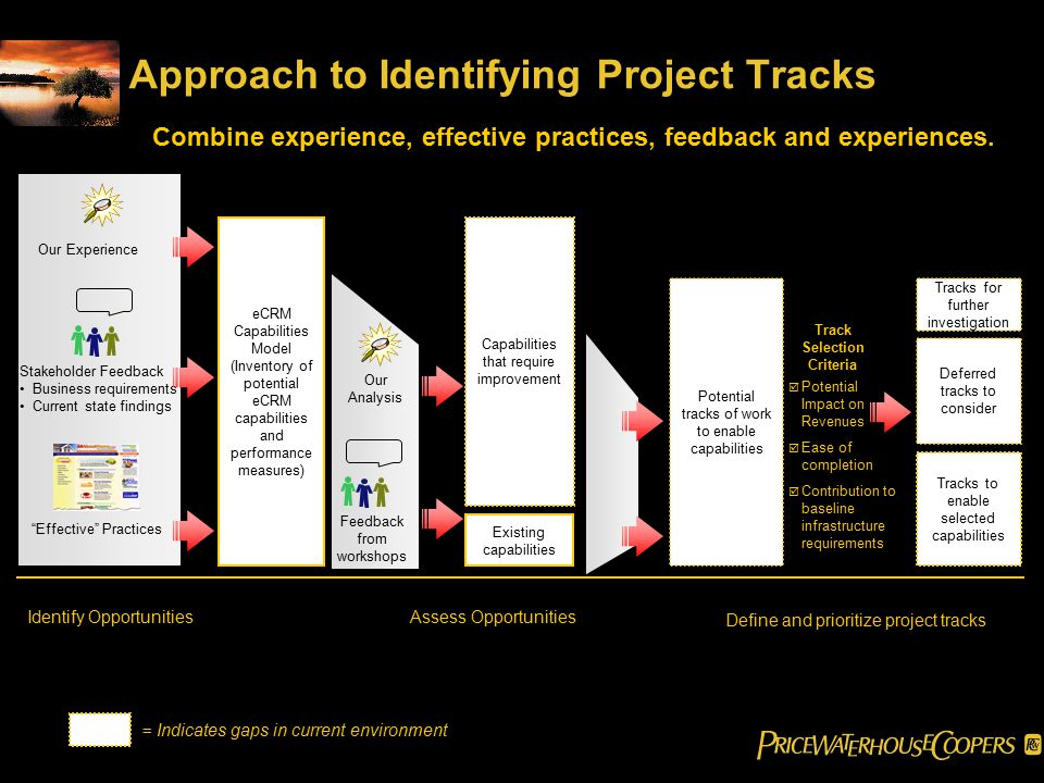 Approach to Identifying Project Tracks eCRM Capabilities Model (Inventory of potential eCRM capabilities and performance measures) Our Experience Stakeholder Feedback Business requirements Current state findings Effective Practices Existing capabilities Capabilities that require improvement Identify OpportunitiesAssess Opportunities Define and prioritize project tracks Tracks to enable selected capabilities Deferred tracks to consider = Indicates gaps in current environment Feedback from workshops Our Analysis Potential tracks of work to enable capabilities Tracks for further investigation Combine experience, effective practices, feedback and experiences.
