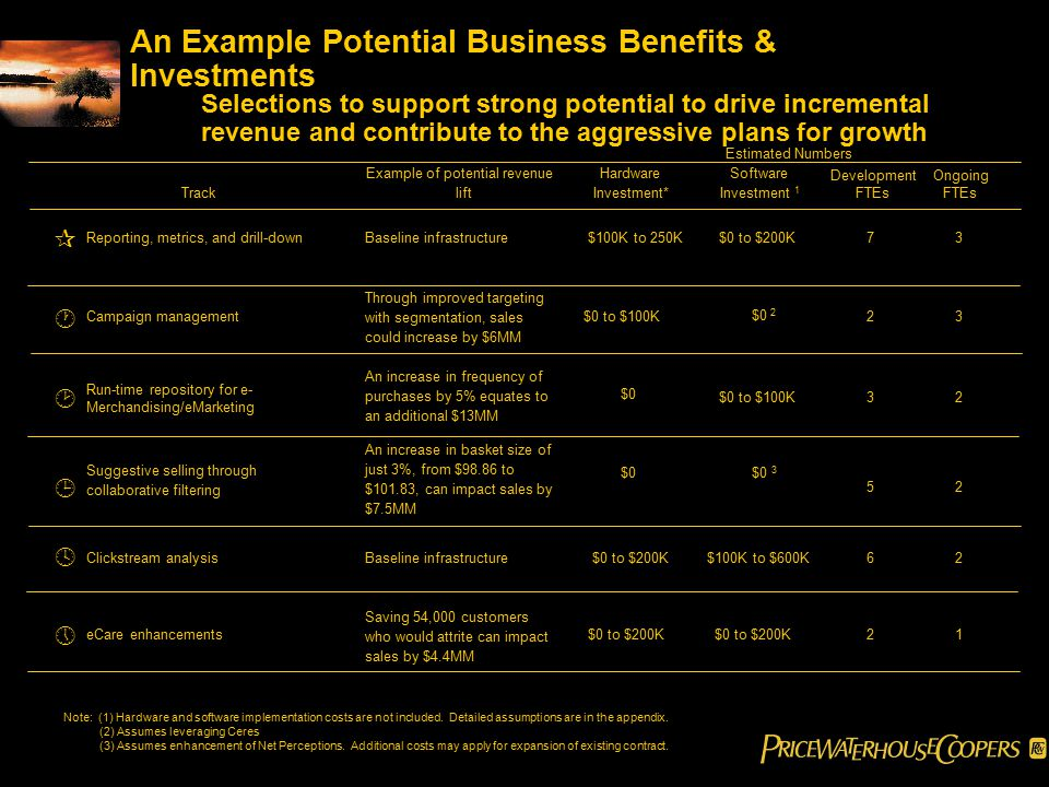 An Example Potential Business Benefits & Investments Selections to support strong potential to drive incremental revenue and contribute to the aggressive plans for growth Note: (1) Hardware and software implementation costs are not included.