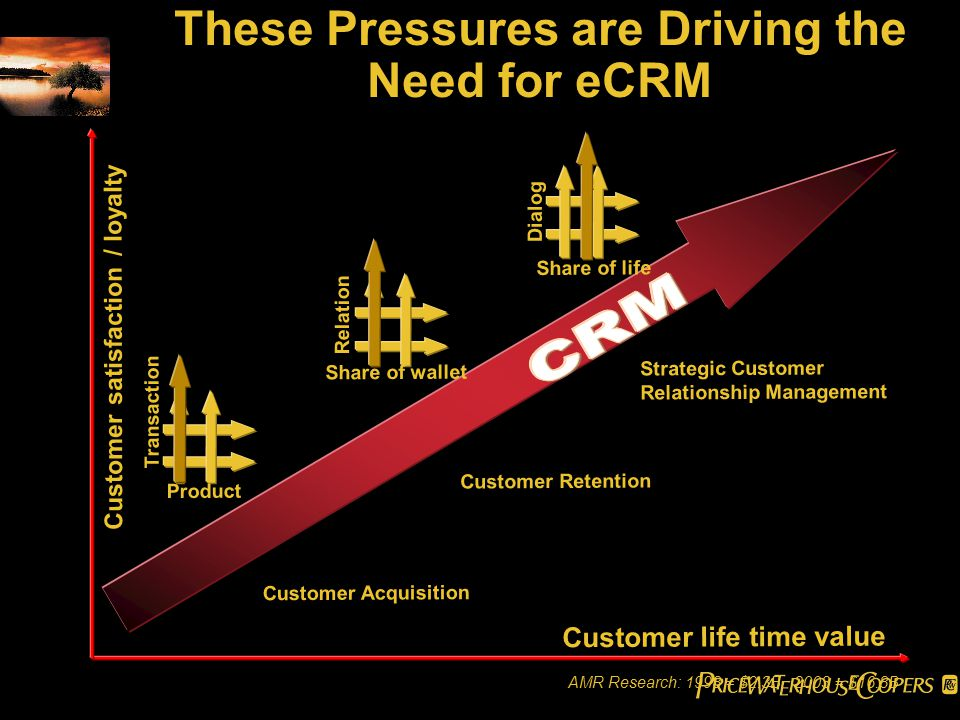 Customer life time value Customer satisfaction / loyalty Transaction Dialog Relation Product Share of life Share of wallet Customer Acquisition Customer Retention Strategic Customer Relationship Management These Pressures are Driving the Need for eCRM AMR Research: 1998 = $2.3B 2003 = $16.8B