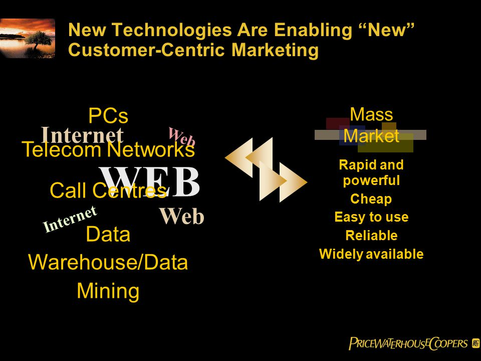 WEB Internet Web New Technologies Are Enabling New Customer-Centric Marketing Mass Market Rapid and powerful Cheap Easy to use Reliable Widely available Web PCs Telecom Networks Call Centres Data Warehouse/Data Mining