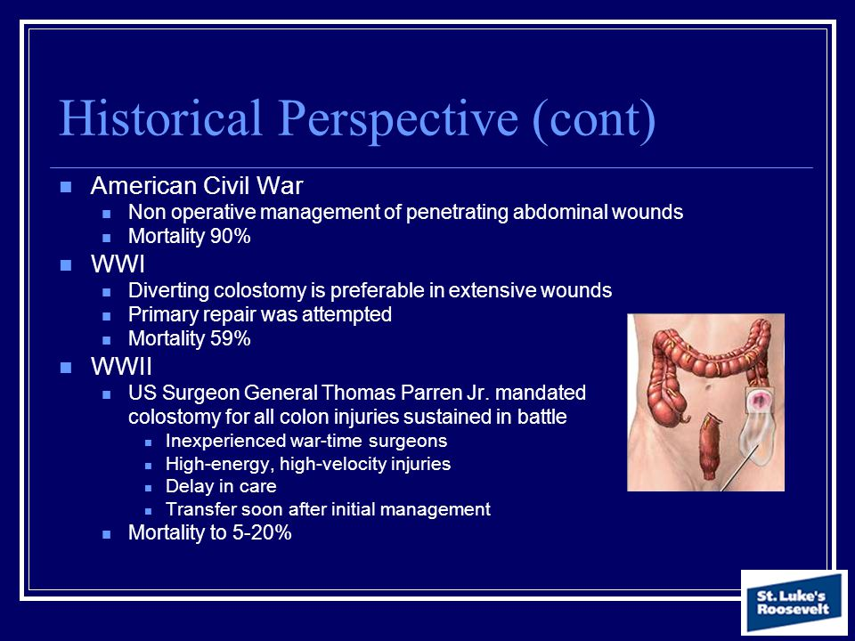 Historical Perspective (cont) American Civil War Non operative management of penetrating abdominal wounds Mortality 90% WWI Diverting colostomy is pre
