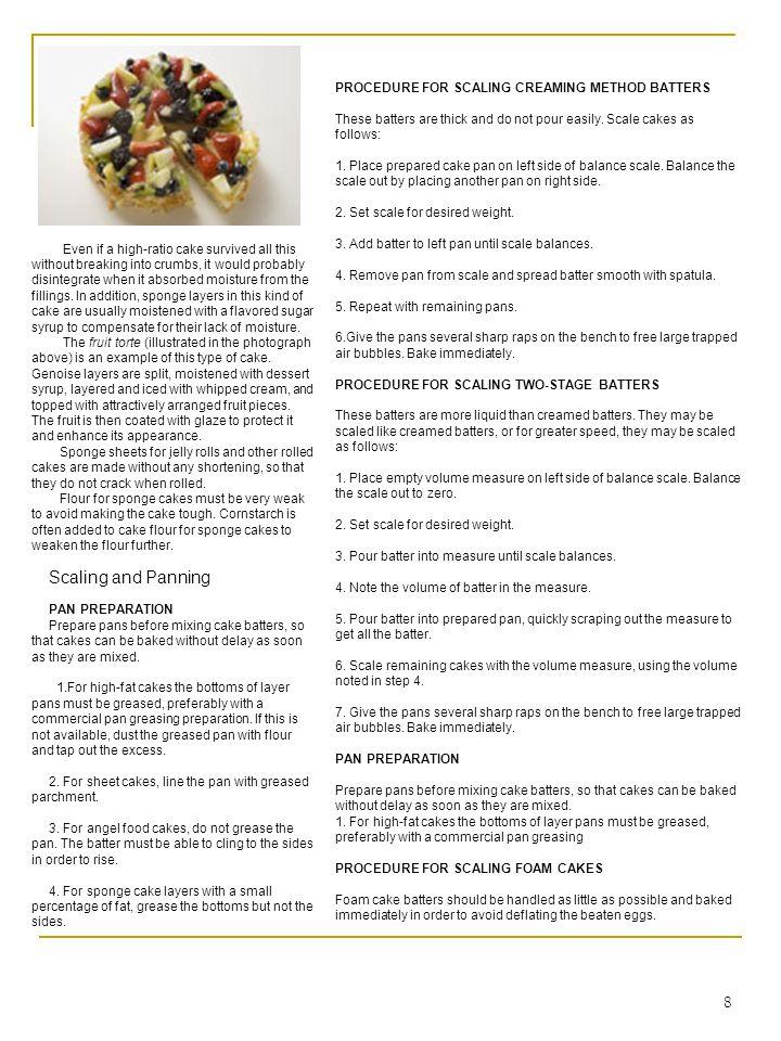 19 Two-Stage Method White Cake Ingredients: AmountUnitBaker s %IngredientPreparation 700gr100%Cake flour 45gr6.25%Baking powder 15gr2%Salt 360gr50%Emulsified shortening 800gr125%Sugar 720ml100%Skim milk 2tsp1.5%Vanilla 1tsp0.75%Almond extract 400gr67%Egg whites Procedure: Mixing (Two-stage Method): 1.
