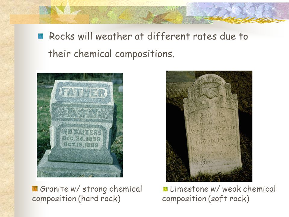 Limestone w/ weak chemical composition (soft rock) Granite w/ strong chemical composition (hard rock) Rocks will weather at different rates due to their chemical compositions.