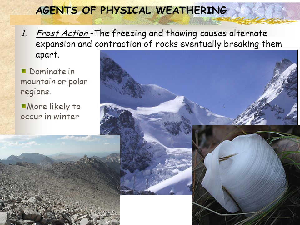 AGENTS OF PHYSICAL WEATHERING 1.Frost Action -The freezing and thawing causes alternate expansion and contraction of rocks eventually breaking them ap
