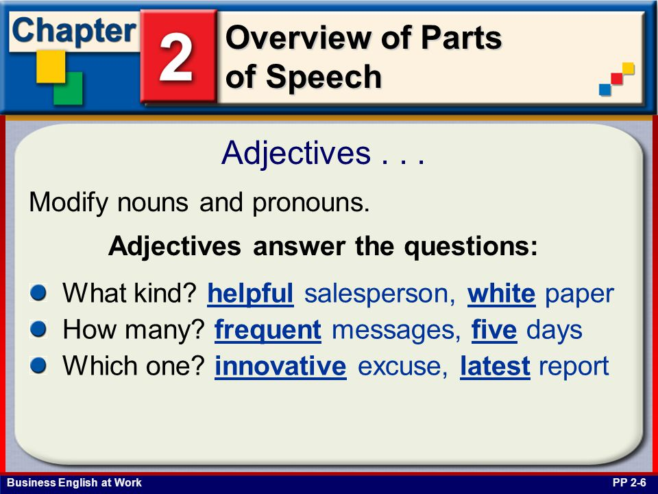Business English at Work Overview of Parts of Speech Adjectives...