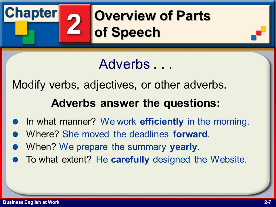 Business English at Work Overview of Parts of Speech Adverbs...