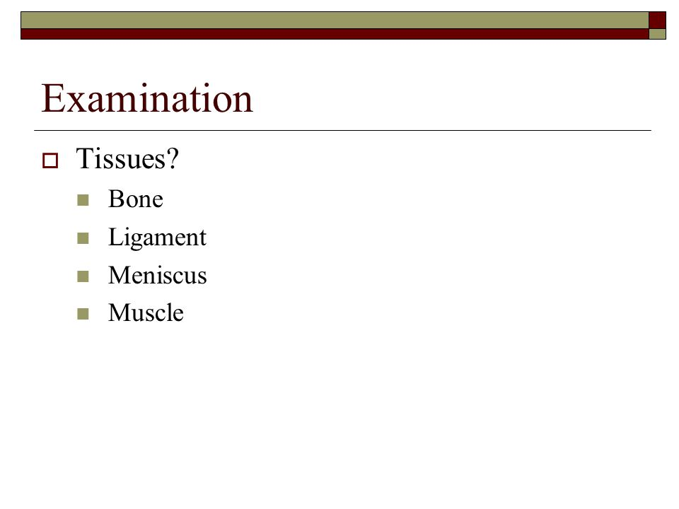 Examination  Tissues? Bone Ligament Meniscus Muscle
