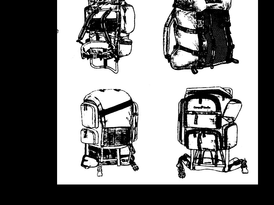 External frame pack, seen from the side which goes against your back Top loading pack (lift the flap to load the bag)