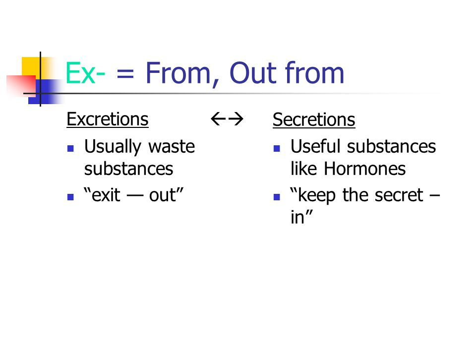 "Ex- = From, Out from Excretions  Usually waste substances ""exit — out"" Secretions Useful substances like Hormones ""keep the secret – in"""
