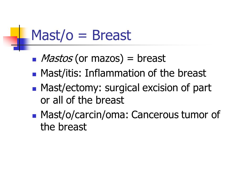 Mast/o = Breast Mastos (or mazos) = breast Mast/itis: Inflammation of the breast Mast/ectomy: surgical excision of part or all of the breast Mast/o/ca