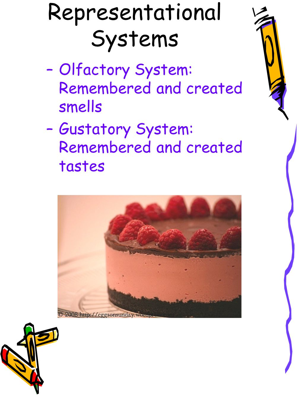 Representational Systems –Olfactory System: Remembered and created smells –Gustatory System: Remembered and created tastes