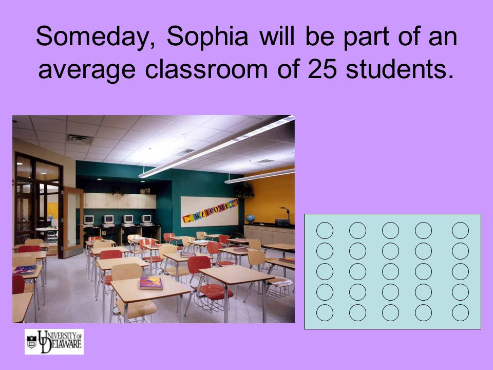 Someday, Sophia will be part of an average classroom of 25 students.