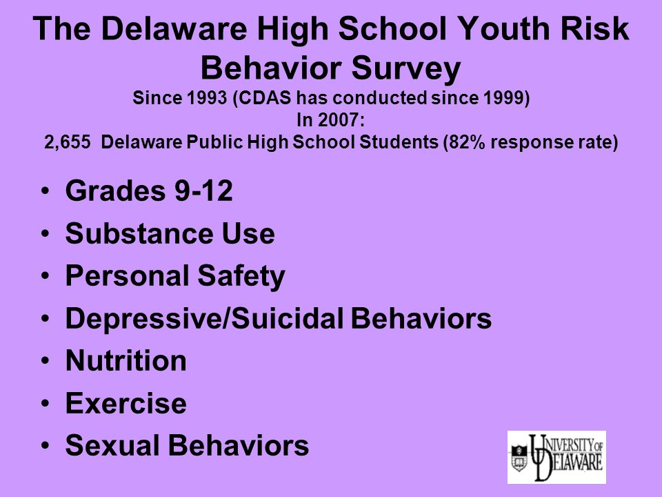 The Delaware High School Youth Risk Behavior Survey Since 1993 (CDAS has conducted since 1999) In 2007: 2,655 Delaware Public High School Students (82