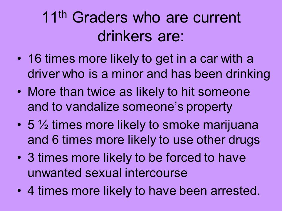 11 th Graders who are current drinkers are: 16 times more likely to get in a car with a driver who is a minor and has been drinking More than twice as