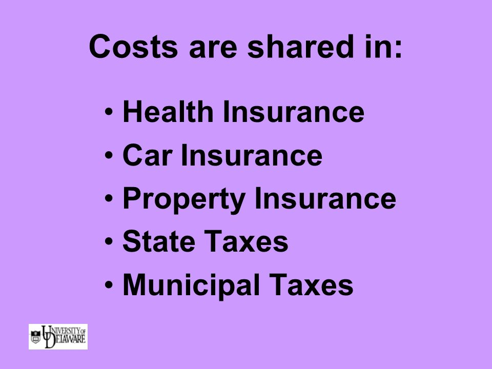 Costs are shared in: Health Insurance Car Insurance Property Insurance State Taxes Municipal Taxes