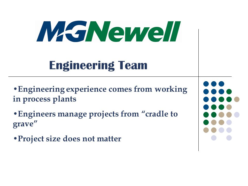 Engineering Team Engineering experience comes from working in process plants Engineers manage projects from cradle to grave Project size does not matter