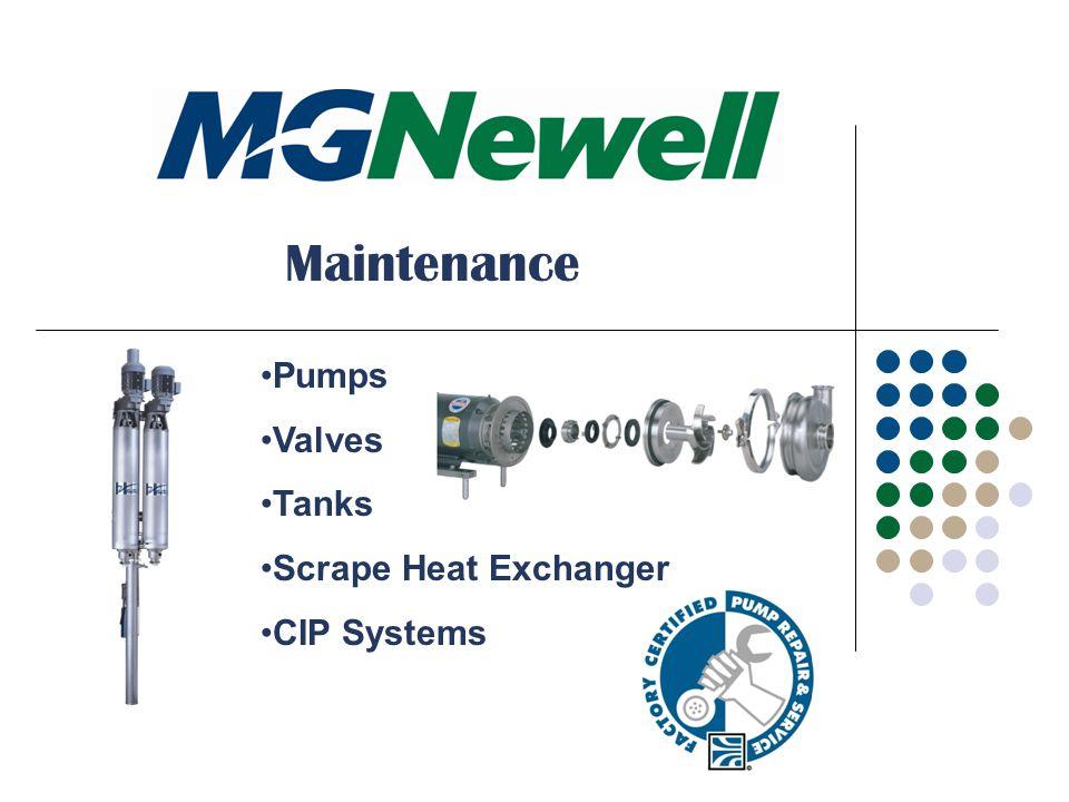 Maintenance Pumps Valves Tanks Scrape Heat Exchanger CIP Systems