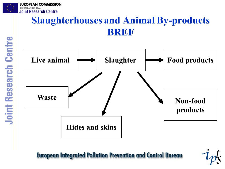 Slaughterhouses and Animal By-products BREF Live animalSlaughterFood products Waste Hides and skins Non-food products