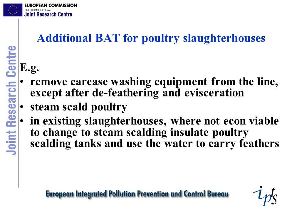 Additional BAT for poultry slaughterhouses E.g.