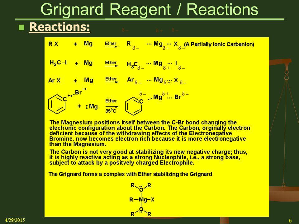  – –  – –  – –  – –  – –  – –  – –  – –  + +  + +  + +  + + Grignard Reagent / Reactions Reactions: 4/29/2015 6  – –  – –  + +