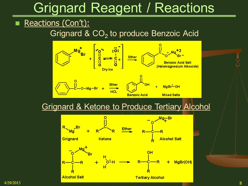 Grignard & Ketone to Produce Tertiary Alcohol Grignard & CO 2 to produce Benzoic Acid Grignard Reagent / Reactions Reactions (Con't): 4/29/2015 8