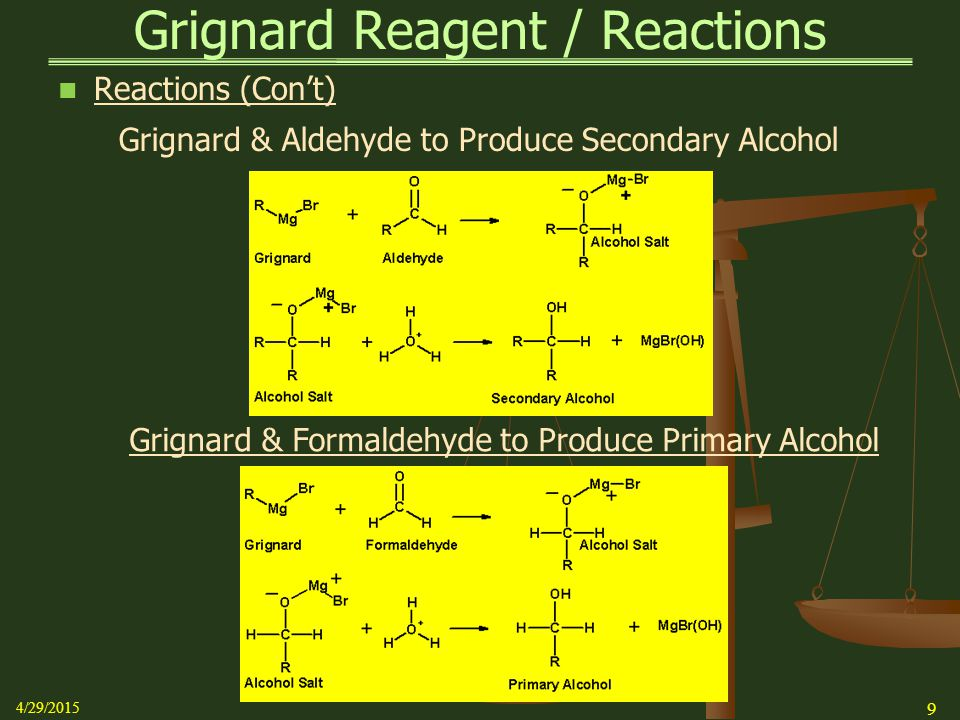 Grignard & Aldehyde to Produce Secondary Alcohol Grignard & Formaldehyde to Produce Primary Alcohol Grignard Reagent / Reactions Reactions (Con't) 4/2