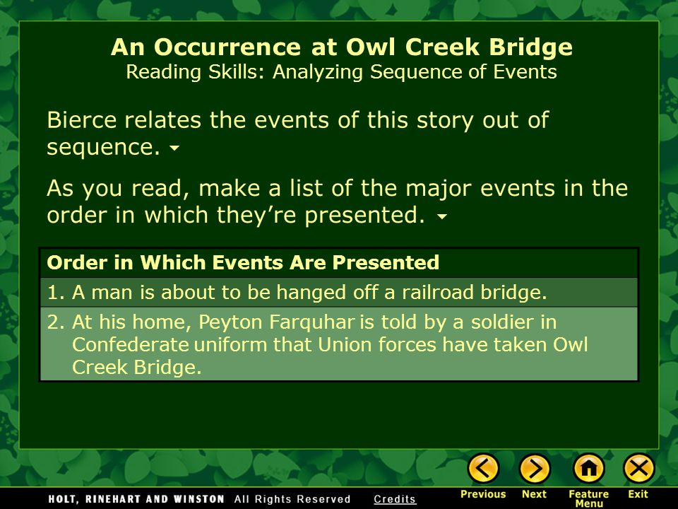 Bierce relates the events of this story out of sequence.