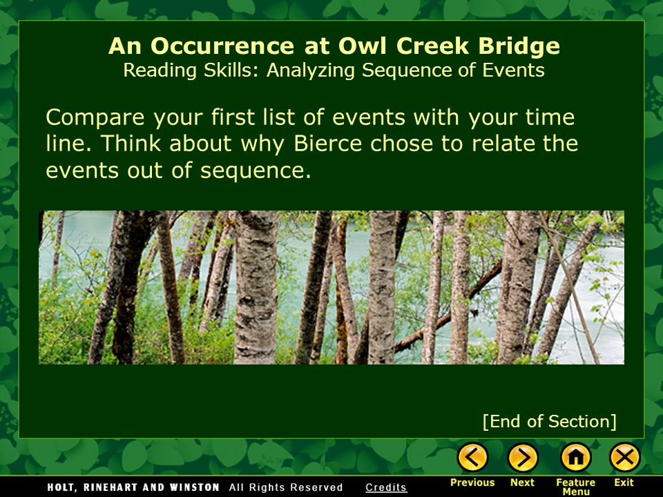 After you've finished reading, create a time line that shows the order in which the events actually happened. An Occurrence at Owl Creek Bridge Readin