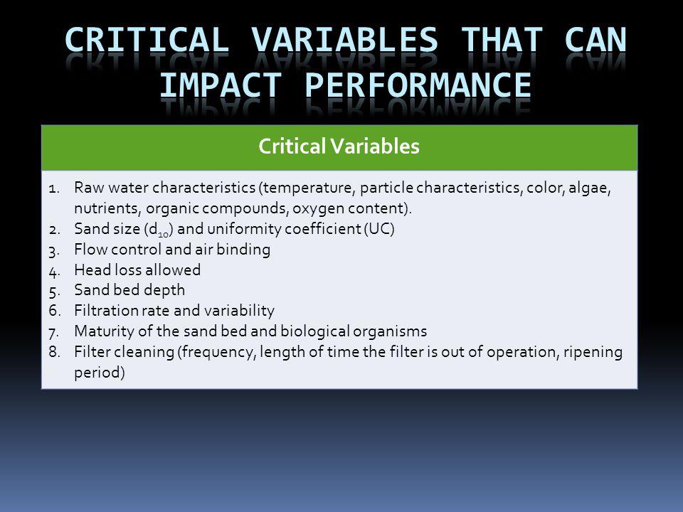 Critical Variables 1.Raw water characteristics (temperature, particle characteristics, color, algae, nutrients, organic compounds, oxygen content). 2.