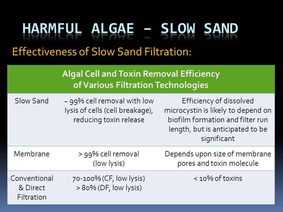 Effectiveness of Slow Sand Filtration: Algal Cell and Toxin Removal Efficiency of Various Filtration Technologies Slow Sand~ 99% cell removal with low